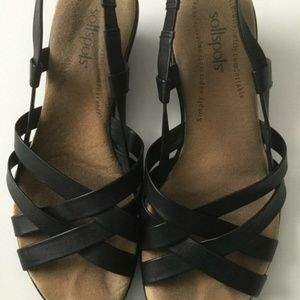 Softspots Black Leather Sling Back Sandal Size 8W